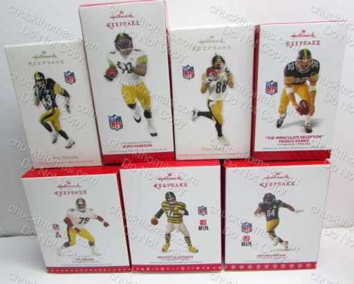 Steeler Hallmark Keepsake Ornaments  Ben Roethlisberger, Troy Polamalu, Joe Green, Antonio Brown, Joe Green James Harrison Hines Ward