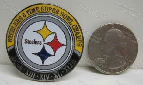 Steeler Six Time Super Bowl Champs Push On Pin