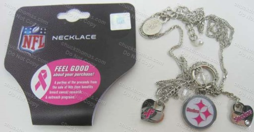 Steelers Support Breast Cancer Research 3 Charm Necklace