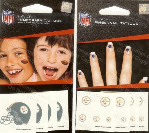 Steelers Set of 8 Temporary Tattoos - Apply with a Wet Cloth