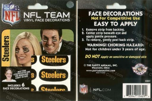 Steeler Under the eye Vinyl Face Decorations