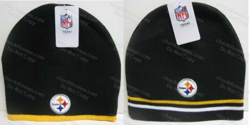 Steeler Black and Gold Striped Skull Caps