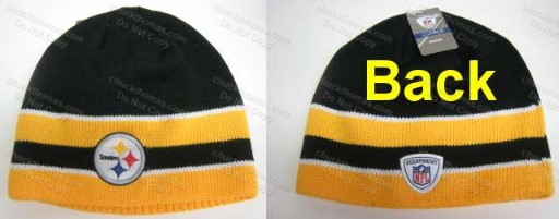 Steelers Reebok Cuffless Black and Gold Knit Hat