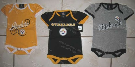 Steeler Infant Black Gold or Ash Girls Frilly Sleeve Body Suit
