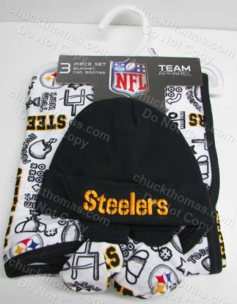 Steeler Baby Blanket, Cap and Booties Set 0-6 Months