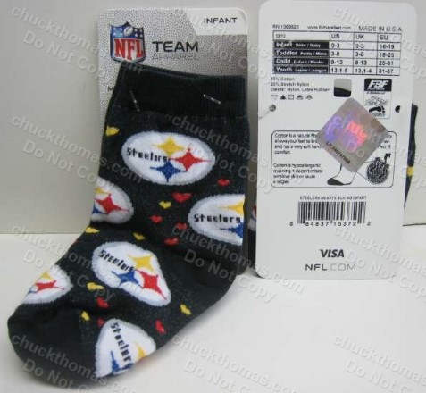 Steeler Infant or Toddler BLACK Socks with Steel Logos and Hearts