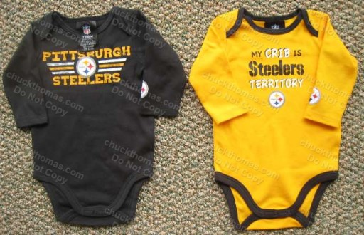 Steelers BLACK or GOLD Long Sleeve Bodysuit Onesie