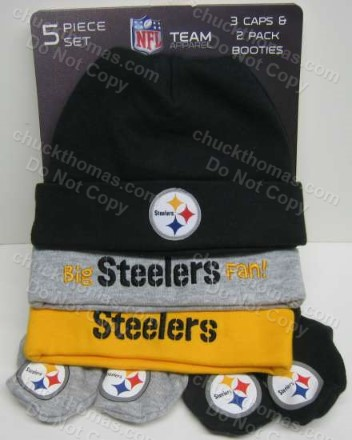 Steeler Infant Caps and Matching Booties 5 Piece Set