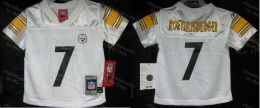 Steeler Reebok WHITE TODDLER 2T 3T or 4T Replica Player Jersey