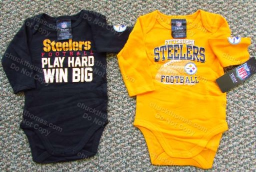 Steeler Baby Long Sleeve Black or Gold Bodysuit Onesie
