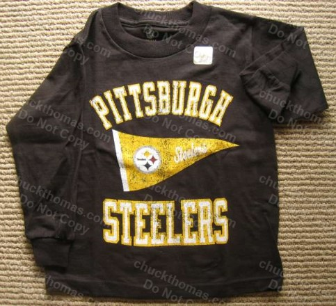 Steeler Distressed Lettering Pennant Logo Long Sleeve Childs BLACK Shirt