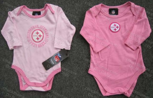 Steeler Long Sleeve Pink Onesie