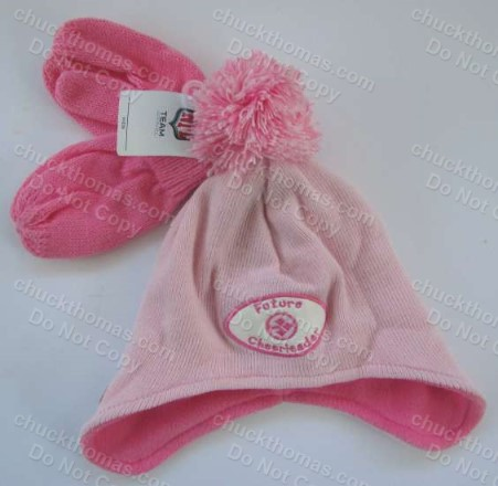 Steeler Toddler Pink Mittens and Hat
