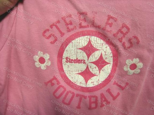 Steeler Pink Onesie with Distressed Lettering