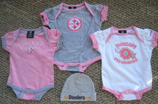 Steeler Pink Short Sleeve Reebok Onesie with Hat