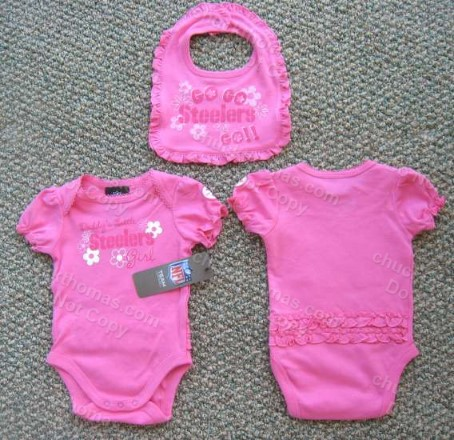 Steelers Pink Bodysuit and Matching Pink Bib - LOTS of Ruffles