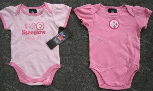 Steeler Short Sleeve Pink Onesie
