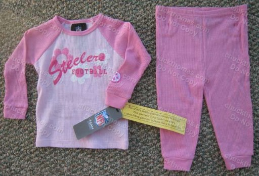 Steelers Pink and WHITE 2 Piece Thermal Pajamas