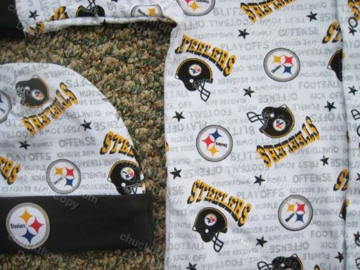 Steelers Bodysuit Hat and Receiving Blanket