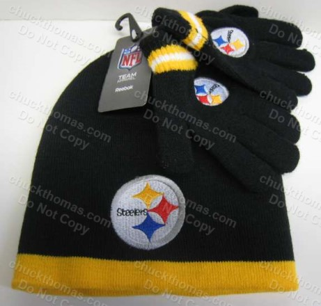Steeler Toddler BLACK and GOLD Reebok Brand Knit Hat Plus Gloves