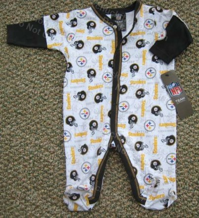 Steelers White Long Sleeve Footed Sleep and Play 0/3 Months