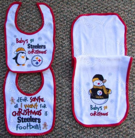 Steelers Baby's First Christmas Red and White Two Different Bibs and One Burp Cloth