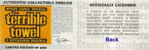 Steelers Myron Cope's Terrible Towel Patch