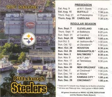 Pittsburgh Steelers Football 2014 Schedule