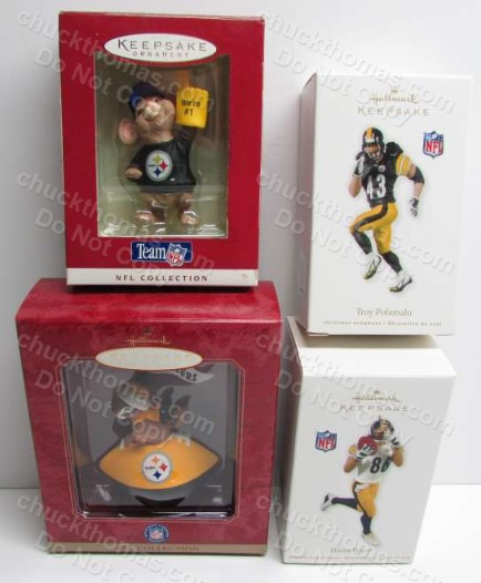 Set of FOUR Steeler Hallmark Ornaments