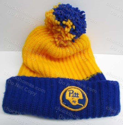 Pitts University OLD Knit BLue and Yellow Tossle Hat