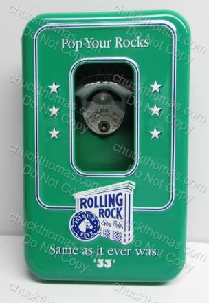 Rolling Rock Pop Your Rocks Bottle Cap Cannister