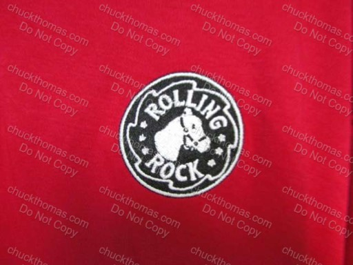 Red Golf Shirt with a Rolling Rock Patch